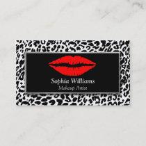Makeup Artist Red Lips Black & White Cheetah Business Card