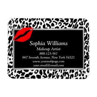 Makeup Artist Red Lips Black & White Cheetah Magnet