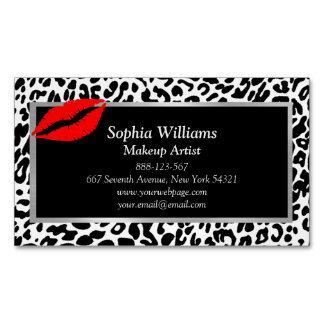 Makeup Artist Red Lips Black & White Cheetah Magnetic Business Card