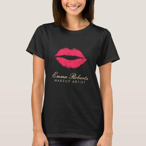 Makeup Artist Red Lips Dark T_Shirt