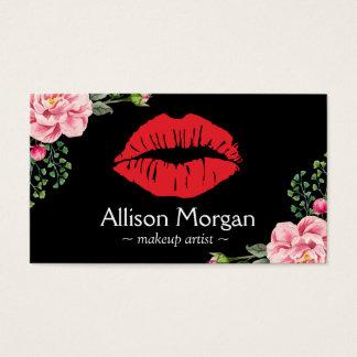 Makeup Artist Red Lips Elegant Floral Decor Business Card