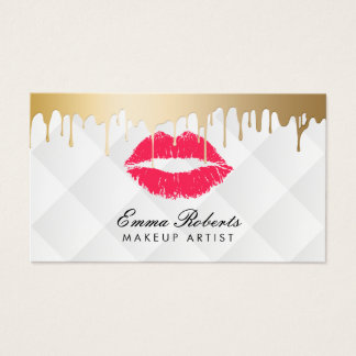 Makeup Artist Red Lips Gold Drips Classy White Business Card