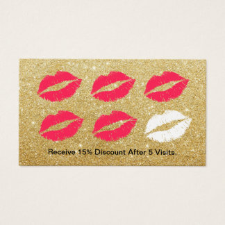 Makeup Artist Red Lips Gold Glitter Loyalty Punch Business Card