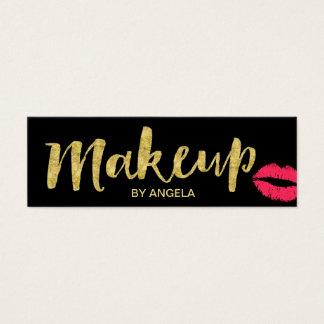 Makeup Artist Red Lips Gold Script Mini Mini Business Card