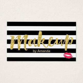 Makeup Artist Red Lips Gold Script Modern Stripes Business Card