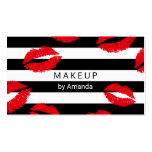Makeup Artist Red Lips Kisses Modern Stripes Business Card