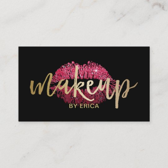 Makeup Artist Red Lips Modern Black Gold Business Card