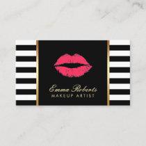 Makeup Artist Red Lips Modern Black White Stripes Business Card
