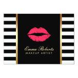 Makeup Artist Red Lips Modern Black White Stripes Card