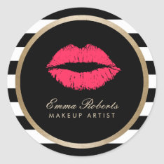 Makeup Artist Red Lips Modern Black White Stripes Classic Round Sticker at Zazzle