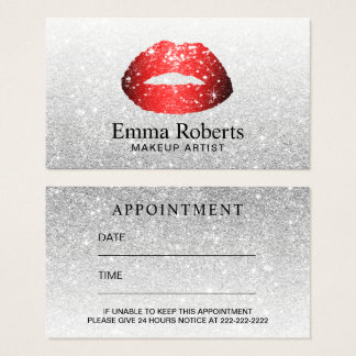 Makeup Artist Red Lips Modern Silver Appointment Business Card