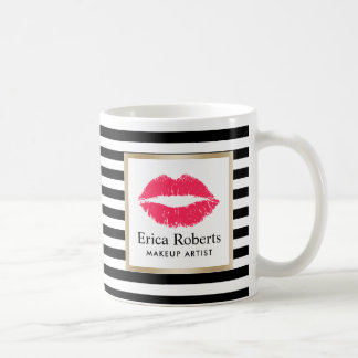 Makeup Artist Red Lips Modern Stripes Beauty Salon Coffee Mug