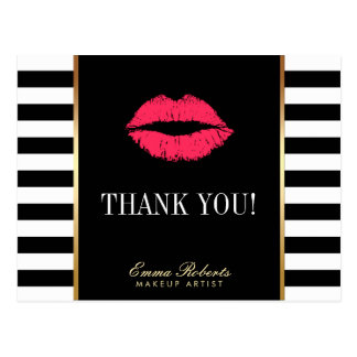 Makeup Artist Red Lips Modern Stripes Thank You Postcard