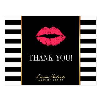 Makeup Artist Red Lips Modern Stripes Thank You Postcard