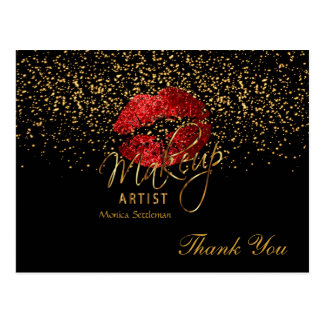 Makeup Artist  Red Lips on Black Postcard