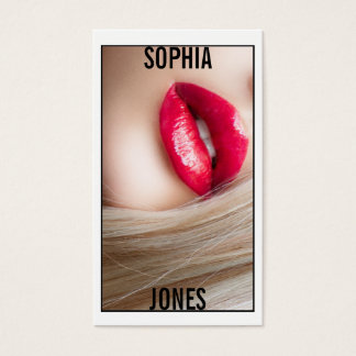 ★ Makeup Artist Red Lips Photo Business Card ★