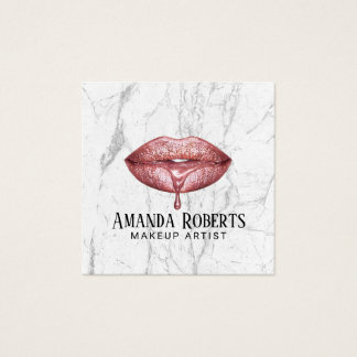 Makeup Artist Rose Gold Dripping Lips Marble Square Business Card