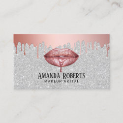 Makeup Artist Rose Gold Dripping Lips Silver Business Card
