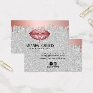 Makeup Artist Rose Gold Dripping Lips Silver Business Card