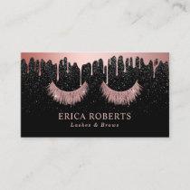 Makeup Artist Rose Gold Eyelash Trendy Dripping Business Card