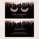 "Makeup Artist Rose Gold Eyelash Trendy Dripping Business Card<br><div class=""desc"">Makeup Artist Rose Gold Eyelashes Trendy Dripping Modern Black Glitter Business Cards.</div>"