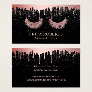 Makeup artist business cards zazzle makeup artist rose gold eyelash trendy dripping business card colourmoves