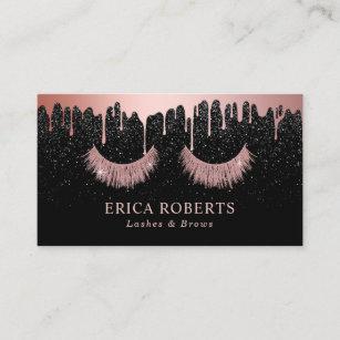 Makeup artist business cards zazzle makeup artist rose gold eyelash trendy dripping business card colourmoves