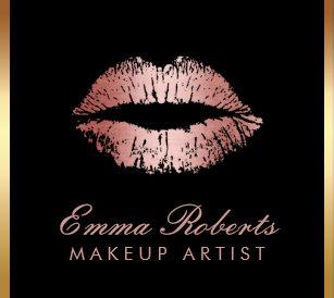 Makeup artist business cards zazzle makeup artist rose gold glitter lips modern salon business card reheart Image collections