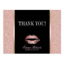 Makeup Artist Rose Gold Glitter Lips Thank You Postcard