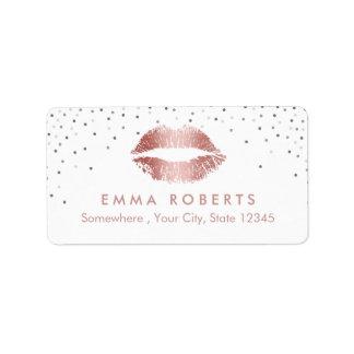 Makeup Artist Rose Gold Lips Beauty Salon Confetti Label