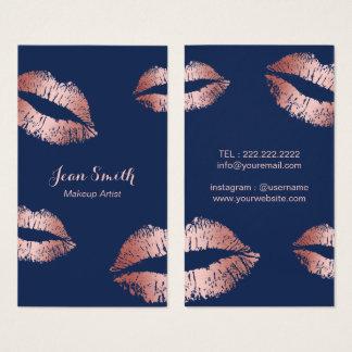 Makeup Artist Rose Gold Lips Elegant Navy Blue Business Card
