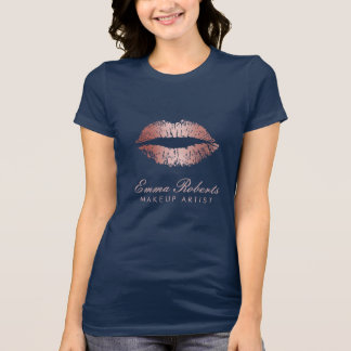 Makeup Artist  Rose Gold Lips Elegant Navy Blue T-Shirt