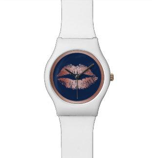 Makeup Artist Rose Gold Lips Elegant Navy Blue Wrist Watch