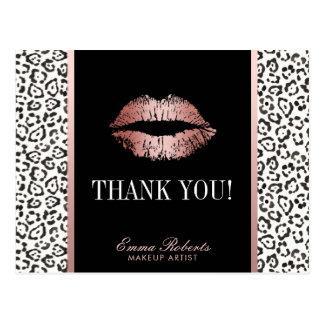 Makeup Artist Rose Gold Lips Leopard Thank You Postcard
