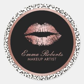 Makeup Artist Rose Gold Lips Modern Leopard Print Classic Round Sticker