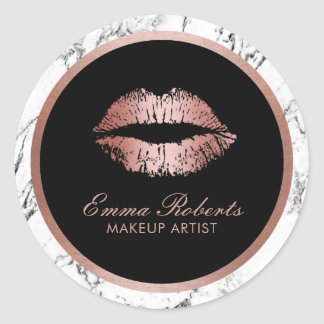 Makeup Artist Rose Gold Lips Modern Marble Classic Round Sticker