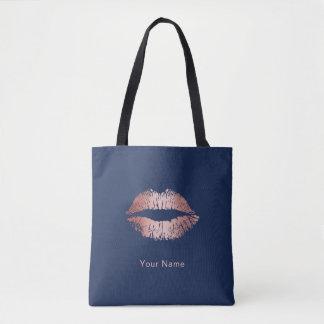 Makeup Artist Rose Gold Lips Modern Navy Blue Tote Bag