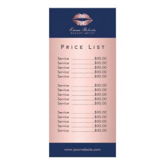 Makeup Artist Rose Gold Lips Navy Blue Price List Rack Card