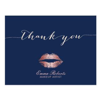 Makeup Artist Rose Gold Lips Navy Blue Thank You Postcard