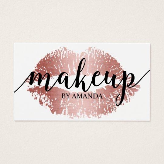 Makeup artist rose gold lips print salon business card zazzle makeup artist rose gold lips print salon business card reheart Image collections