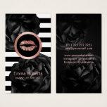 Makeup Artist Rose Gold Lips Stripes Black Floral Business Card