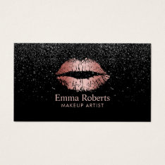 Makeup Artist Rose Gold Lips Trendy Black Glitter Business Card at Zazzle