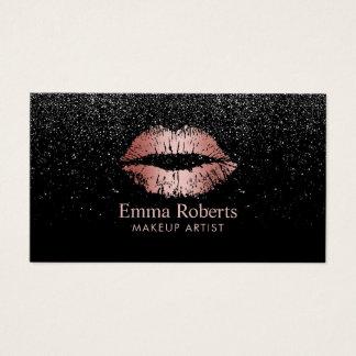 Makeup Artist Rose Gold Lips Trendy Black Glitter Business Card