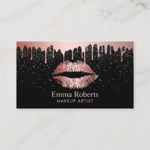 Makeup artist business cards zazzle makeup artist rose gold lips trendy dripping business card colourmoves