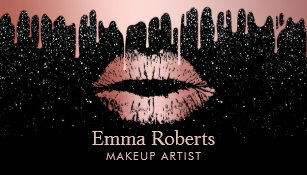 Makeup artist business cards zazzle makeup artist rose gold lips trendy dripping business card cheaphphosting Image collections