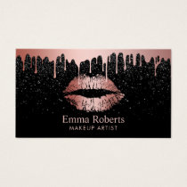 Makeup Artist Rose Gold Lips Trendy Dripping Business Card