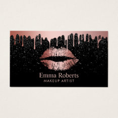 Makeup Artist Rose Gold Lips Trendy Dripping Business Card at Zazzle
