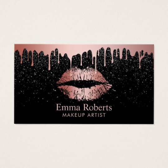 Makeup artist rose gold lips trendy dripping business card for Makeup artist quotes for business cards