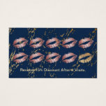 Makeup Artist Rose Gold Lips Trendy Navy Loyalty Business Card