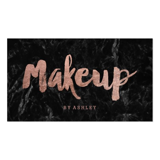 Makeup Artist Rose Gold Typography Black Marble Business